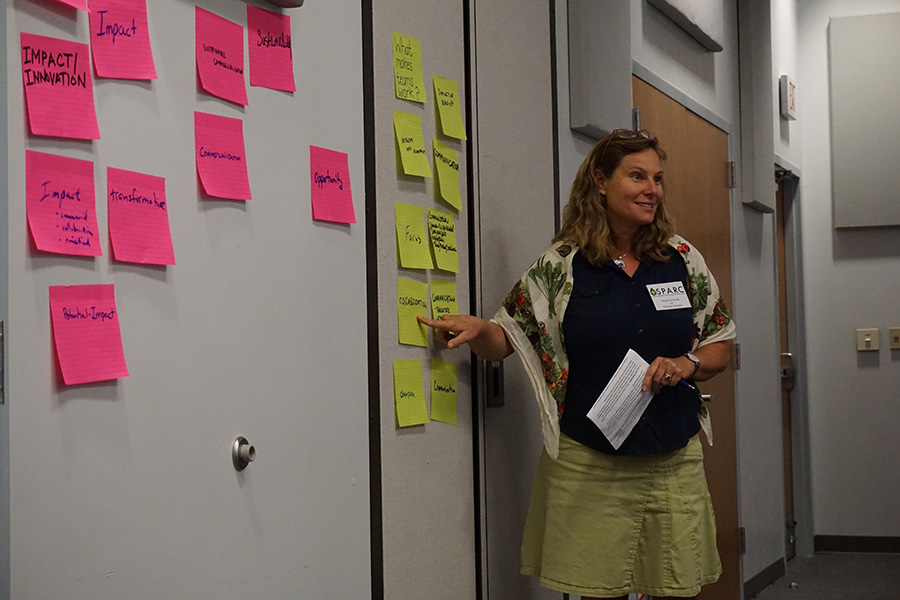 Wendy-Lin Bartels leading the group in an icebreaker session