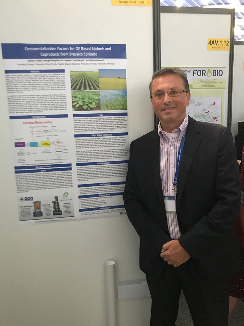 George Philippidis (Lead-SPARC Education & Workforce Development) presents a poster on commercialization factors of carinata based fuel and bioproducts at the European Biomass Conference & Exhibition in Lisbon